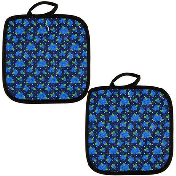 DCCKU3R Fruit Blueberry Blueberries Repeat Pattern All Over Pot Holder (Set of 2)
