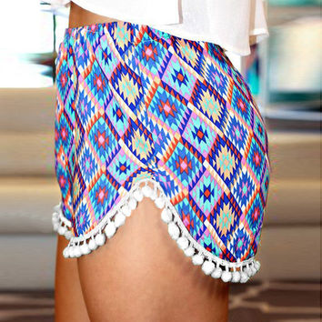 Ethnic Print Fringed Mini Shorts