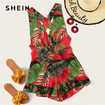 SHEIN Boho Multicolor Crisscross Knot Back Ruffle Trim Tropical Romper Women Summer Sleeveless Playsuit Beach Style Sexy Rompers