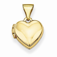 14k Yellow Gold Plain Heart Locket Pendant
