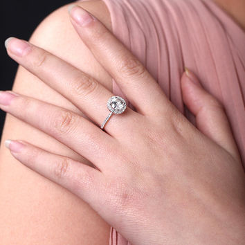 5 mm Moissanite Engagement Ring Solitaire with Accents,Halo Round Cut,14K White Gold