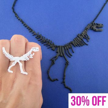 Dinosaur Themed Adjustable T-Rex Fossil Ring and Skeleton Necklace 2 Piece Set