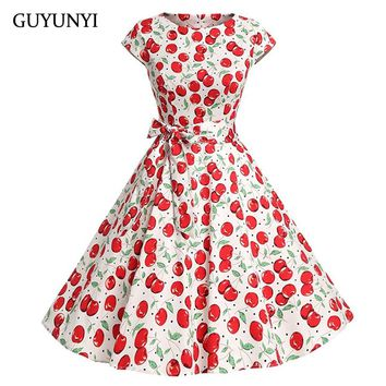 GUYUNYI 2018 Cherry Floral Print Summer Dress Women Vintage 50s Rockbility Vestidos Robe  A-line Elegant Party Dresses CX820