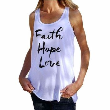 PEAP78W Women Shirt Faith Hope Love Letter Pattern Round Neck Tank Sleeveless Tops Summer Soft Cotton T-shirt#LSN