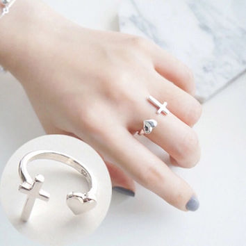 Gift New Arrival Jewelry Shiny 925 Silver Korean Lovely Stylish Cross Ring [8380584327]