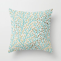 Berry Branches – Turquoise & Gold Throw Pillow by Cat Coquillette