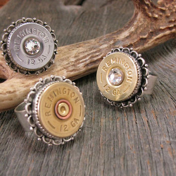 12 Gauge Shotgun Casing Fancy Scallop Bezel Statement Ring