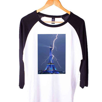 Eiffel Tower Short Sleeve Raglan - White Red - White Blue - White Black XS, S, M, L, XL, AND 2XL*AD*