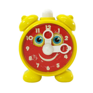 Vintage Toy Clock, Anthropomorphic, 80's, Learn To Tell Time, Educational Childrens Toy, Nursery Decor, Retro Kids Room, Blue Box, Tick Tock