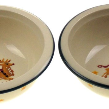 Reindeer Chowder Soup Bowls Set 2 Hartstone Pottery Stoneware Hand painted