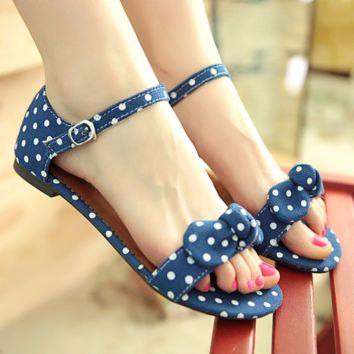 Cute Polka Dot Ribbon Ankle Casual Sandals