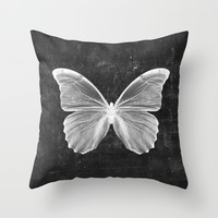 Black Butterfly Throw Pillow by cafelab