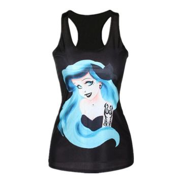 YEMUSEED New women t-shirt The Little Mermaid vest Ariel Cartoon print camisole Sexy fashion punk