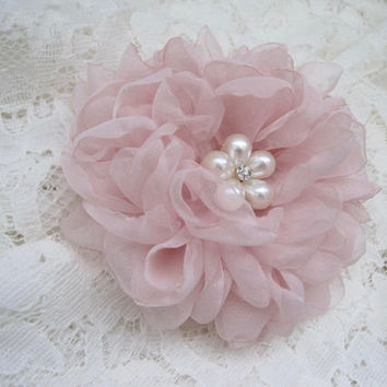 Gorgeous Blush Pink Chiffon Hair Clip Bridal Bride Bridesmaid Mother of the Bride with Pearl and Rhinestone Accent Hair Accessories Bridal
