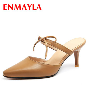 ENMAYLA Summer Close Toe High Heels Sandals Women Bowtie Ladies Mules Shoes Woman Slippers Khaki Beige Kitten Heels Pumps