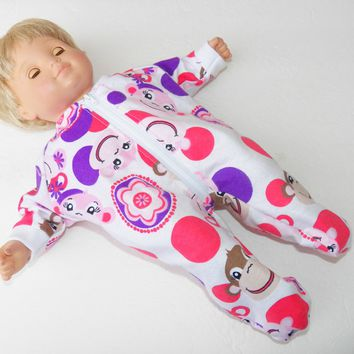 "Pajamas, BITTY BABY  girl Clothes, doll clothes, 15"" twin, Purple Pink Monkey, Flannel, Pajamas"