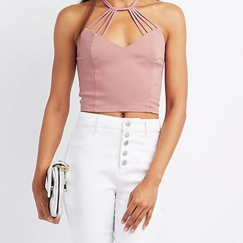 Caged Bib Neck Crop Top