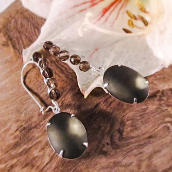 Smoky quartz drop earrings Frosted gray oval dangles Mother of the bride wedding earrings Brown earrings Gray earrings Neutral earrings Gift