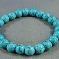 Turquoise Beaded Stretchy Bracelet, Sparkly, Pretty, Simple, Everyday Bracelet
