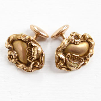 Antique Rosy Yellow Gold Washed Cuff Links - Art Nouveau Vintage Oval Repousse Flower Edwardian 1910s Cufflink Jewelry