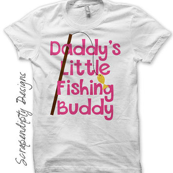 Camping Iron on Transfer - Iron on Girls Fishing Shirt / Daddy's Fishing Buddy Tshirt / Father's Day Clothes / Kids Camp Outfit IT404G-C