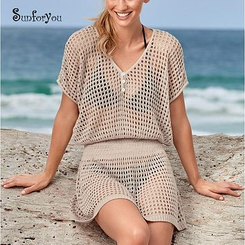 Knitted Beach Sarong Tunic  Hollow out Swim suit Cover up White Beach Cover up Pareo Beach Bathing suit cover ups Beach wear