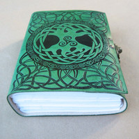 5 x 7 Green Leather Journal Sacred Tree Symbol Design 272 Blank Pages with Brass Latch
