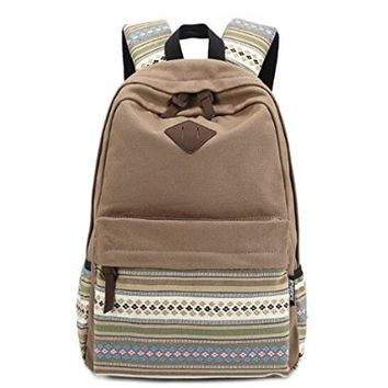 Hmxpls Unisex Fashionable Canvas Zip Bohemia Boho Style Backpack School College Laptop Bag