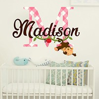 Custom Personalized Name Wall Decal Monkey Full Color Mural for Nursery Animal Decor Colorful Vinyl Sticker SD6