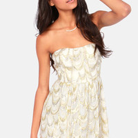 Aryn K Land of Silk and Honey Strapless Gold and Cream Dress