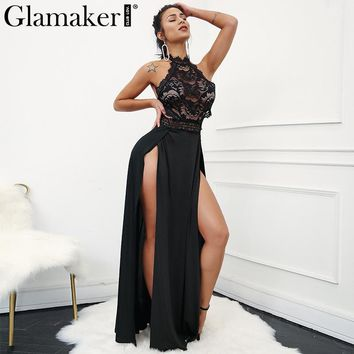 Glamaker Embroidery halter split summer dress Women hollow out sheer  lace long dress Evening party sexy dress vestidos robe