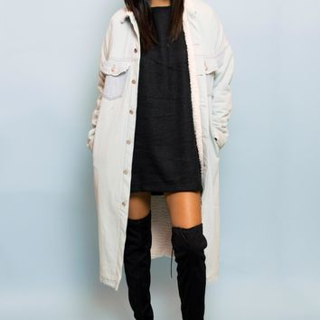 Gigi Denim Faux Shearling Longlined Pocket Coat