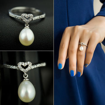 Jewelry New Arrival Shiny Gift Pearls 925 Silver Stylish Accessory Ring [7204783623]