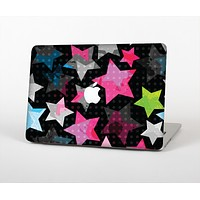 The Neon Highlighted Polka Stars On Black Skin for the Apple MacBook Air 13""