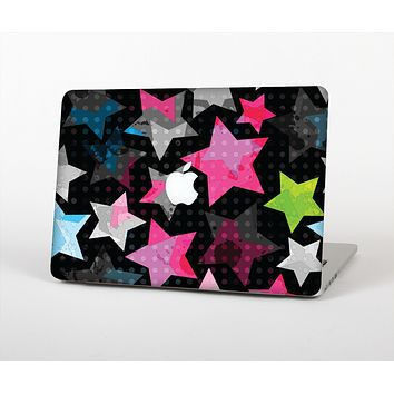 "The Neon Highlighted Polka Stars On Black Skin Set for the Apple MacBook Pro 15"" with Retina Display"