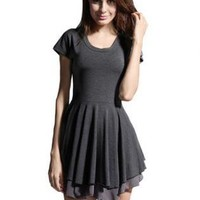 Bqueen Fan to fight short-sleeve dress Black SK004H