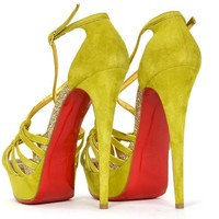 "CHRISTIAN LOUBOUTIN Suede Chartreuse ""8 Mignons"" Glitter Platform Shoes"