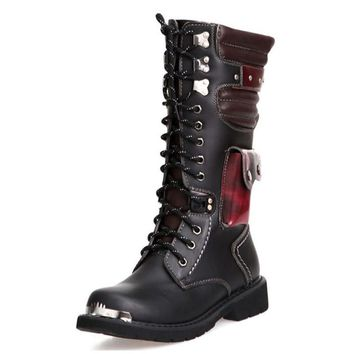 british style punk men motorcycle boots winter vintage combat boots with pocket men sh  number 1