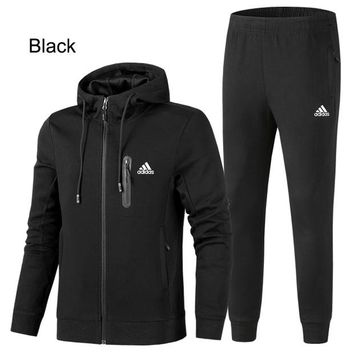 ADIDAS 2018 autumn and winter new plus velvet casual hooded jacket sweater two-piece Black