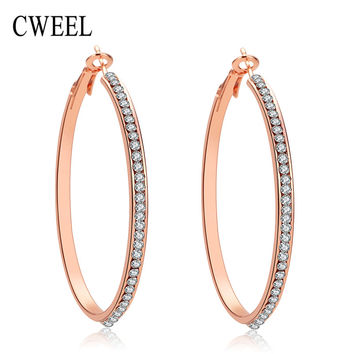 Trendy African Bridal Imitated Crystal Beads Big Hoop Earrings Gold/ Sliver Plated Jewelry Women Wedding Party Accessories Gift