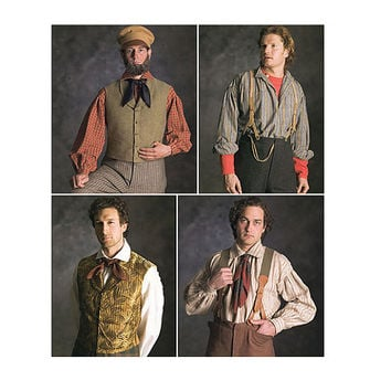 Mens Historical Vest Suspenders & Hat Pattern 19th Century Civil War Pattern Simplicity 5037 UNCUT Mens Reenactment Sewing Patterns