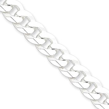 Men's 8.5mm Sterling Silver Solid Beveled Curb Chain Necklace, 18 Inch