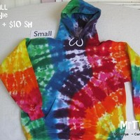 Adult Small Tie-Dyed Rainbow Scrunch Hoodie