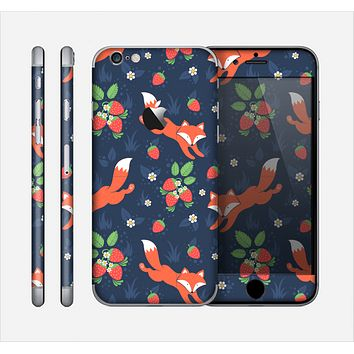 The Running Orange & Navy Vector Fox Pattern Skin for the Apple iPhone 6