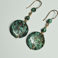 African Turquoise (Jasper) and Bronze Wire Wrapped Earrings