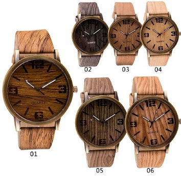 Fashion Accesories Casual Dress Pu Leather Lovers Luxury Men Watches Wood Pattern Wristwatch For Male Idea Gifts [8833607500]