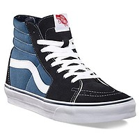 Vans SK8 Hi Navy White Red Suede Unisex Trainers Shoes