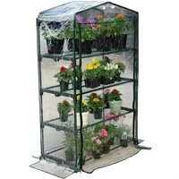 4-Tier Growing Rack Planter Stand Greenhouse with Thermal Cover