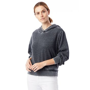 Alternative Apparel - The Claire Burnout French Terry Pullover Washed Black Hoodie