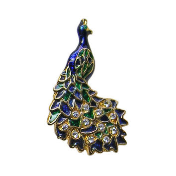 Pretty Peacock Brooch Blue Enamel Clear Rhinestones Pin